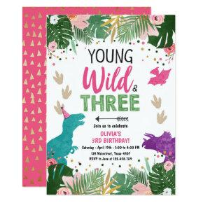 Wild Three Dino Party Girl Pink Dinosaur Birthday Invitation