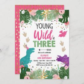 Wild Three Dino Party Girl Pink Dinosaur Birthday Invitation