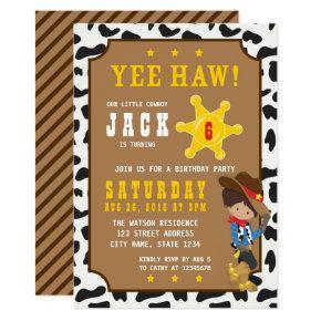 Wild West Tan Cowboy Birthday Invitation