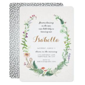 Wildflower First Birthday Invitation