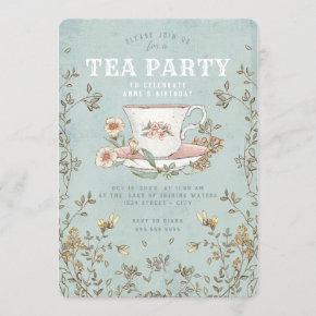Wildflower Tea Party Birthday Invitation