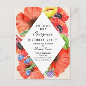 Wildflowers Save The Date Surprise Birthday Party Announcement PostInvitations