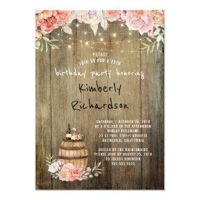 Wine Barrel Rustic String Lights Birthday Party Invitations
