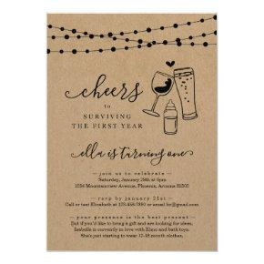 Wine & Beer Funny First Birthday Party Invitation