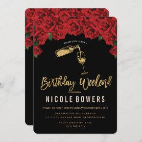 Wine Glass Birthday Weekend Itinerary Invitation
