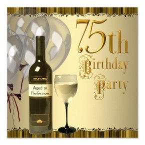Wine Glass Bottle Gold 75th Birthday Party Invitations