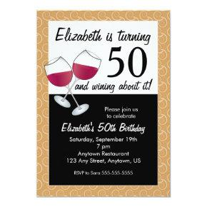 Wining About Turning 50 Red Wine Birthday Party Invitations