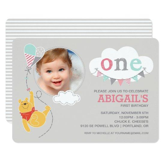 Winnie the pooh baby girl first birthday invitations candied winnie the pooh baby girl first birthday invitations filmwisefo