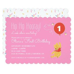 Winnie the Pooh | Baby Girl - First Birthday Invitations