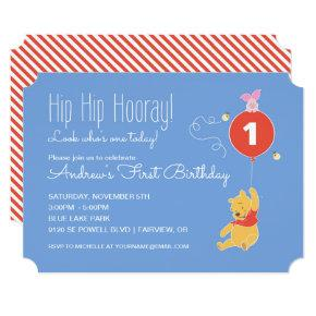Winnie the Pooh Balloon | Boy - First Birthday Invitation