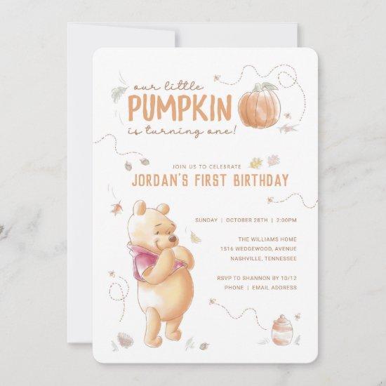Winnie the Pooh   Fall Pumpkin First Birthday Invitation
