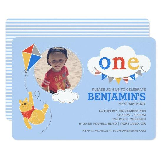 Winnie the Pooh Kite | Baby Boy - First Birthday Invitations