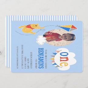 Winnie the Pooh Kite | Baby Boy - First Birthday Invitation