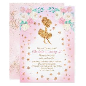 Winter Ballerina Glitter Birthday Invitation