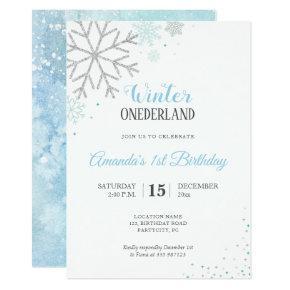Winter first birthday Snowflakes Invitation
