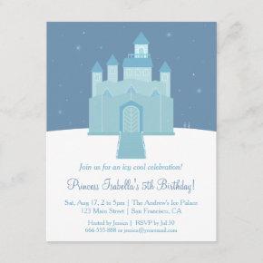Winter Ice Frozen Palace Princess Birthday Party Invitation