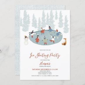 Winter Ice Skating Snow Birthday Party Invitation