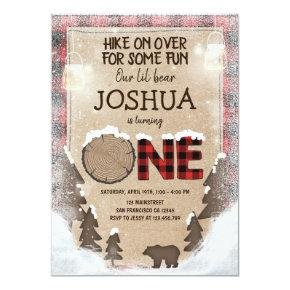 Winter Lumberjack Birthday Invitations Woodland