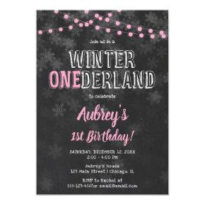Winter Onederland 1st Birthday girl pink black Invitation
