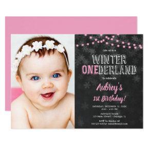 Winter Onederland 1st Birthday girl pink photo Invitation
