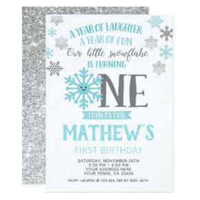 Winter Onederland 1st Birthday Invitations