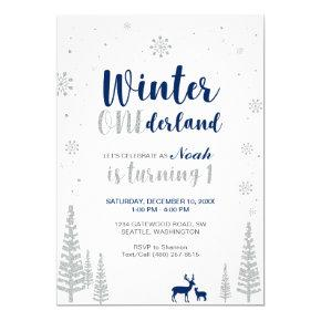 Winter Onederland 1st Birthday Invitation - Boy