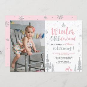 Winter Onederland 1st Birthday Invitation - Girl
