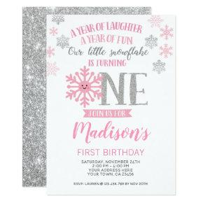 Winter Onederland 1st Birthday Invitation Photo