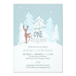 Winter Onederland 1st Birthday Party Invitation