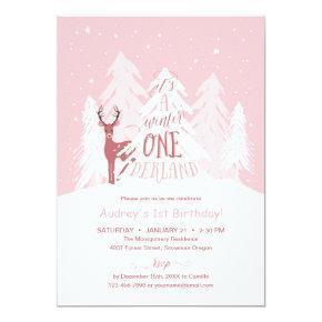 Winter Onederland 1st Birthday Party Invite Pink