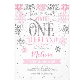 Winter Onederland 1st birthday, Pink silver Invitation