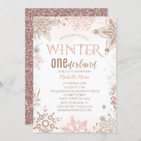 Winter Onederland 1st Birthday Pink Snowflake Invitation