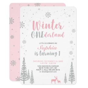 Winter Onederland 1st, First Birthday, Girl Invitation