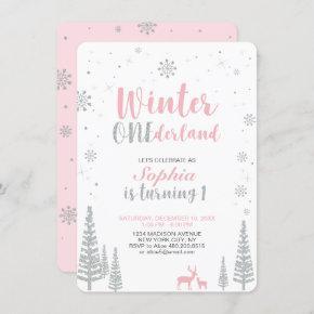 Winter Onederland 1st, First Birthday, Girl Invitation