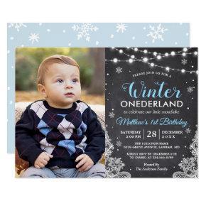 Winter ONEderland Baby Boy First Birthday Photo Card