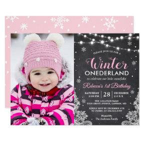 Winter ONEderland Baby Girl 1st Birthday Photo Invitation