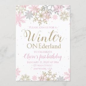Winter ONEderland Birthday Invitation