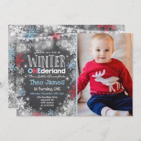 Winter ONEderland Birthday Invitation Blue Red