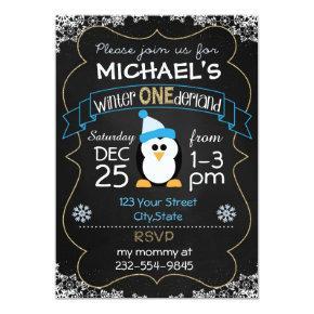 Winter Onederland birthday Invitations boy 1st