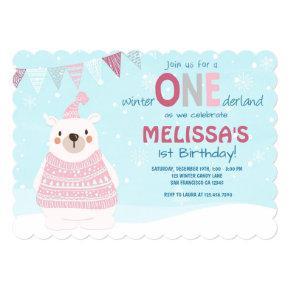 Winter ONEderland birthday Invitations Girl Pink