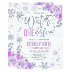 Winter ONEderland Birthday Invitation Lilac Silver