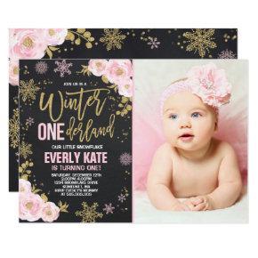 Winter ONEderland Birthday Invitations Pink Gold