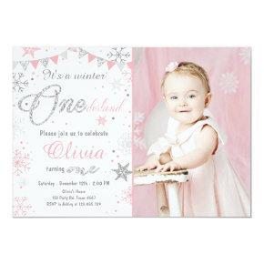 Winter Onederland birthday Invitations Pink silver