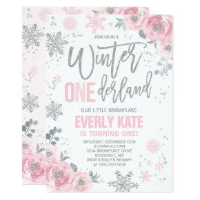 Winter ONEderland Birthday Invitations Pink Silver