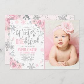 Winter ONEderland Birthday Invitation Pink Silver