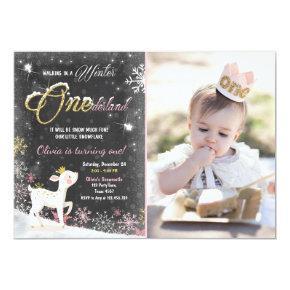 Winter Onederland birthday invite pink Gold deer