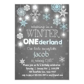 Winter Onederland birthday party invite Blue boy