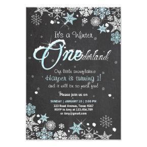 Winter Onederland birthday party invite Blue white