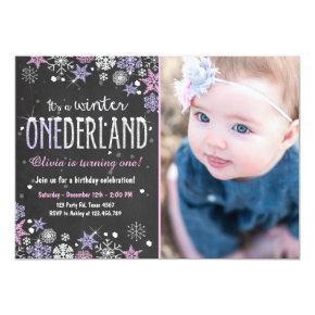 Winter Onederland birthday party invite Girl Pink