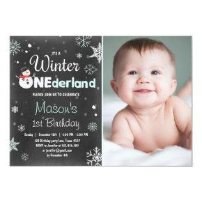 Winter Onederland birthday party snowman Mint Blue Invitation